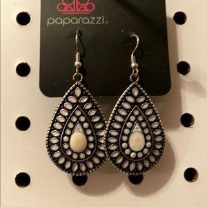 Silver & white earrings